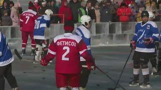 Звезды хоккея вышли на лед озера Байкал.