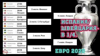 Чемпионата Европы по футболу (EURO 2020). Результаты 1/8. Расписание. Швейцария/Испания – в 1/4