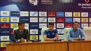 Пресс - конференция сборной Казахстана , перед матчем с Бельгией . Отбор на ЕВРО 2023 . U-21