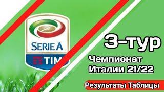 Чемпионат Италии по футболу. Обзор 3 тура Серии А. Результаты матчей. Таблицы Расписание. #SeriaA