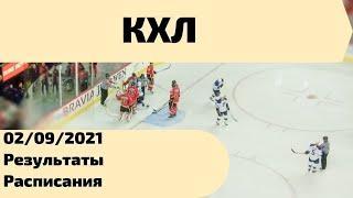 Хоккей Чемпионат КХЛ 02/09/2021. Результаты, таблица.